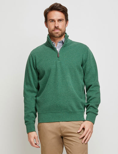 French Rib 1/2 Zip Sweater - Green