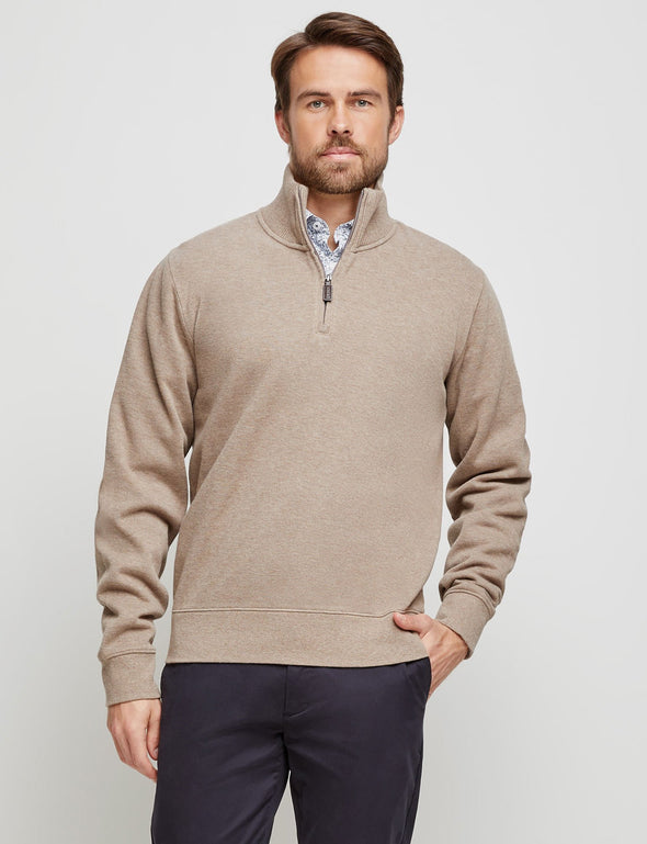 French Rib 1/2 Zip Sweat - Mocha