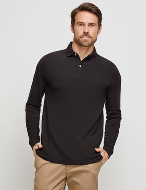 Long Sleeve Cotton Pique Polo - Black