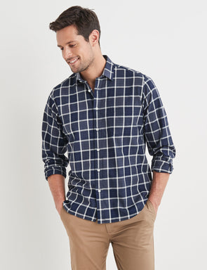 Robert Long Sleeve Check Shirt - Navy/White