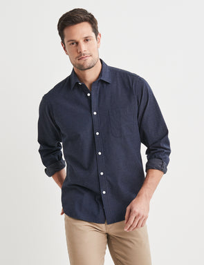 Albert Long Sleeve Dobby Shirt - Navy/Blue