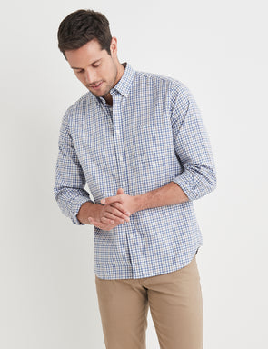 Barnaby Long Sleeve Check Shirt - Blue/Grey