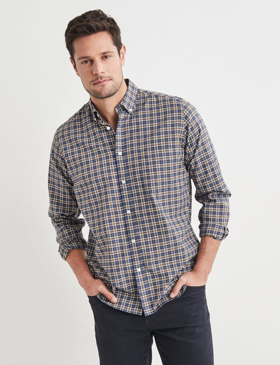 Dashiell Long Sleeve Check Shirt - Navy/Yellow