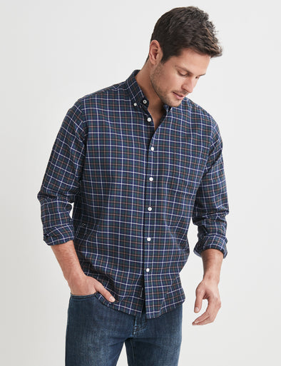 Edwin Long Sleeve Check Shirt - Green Multi