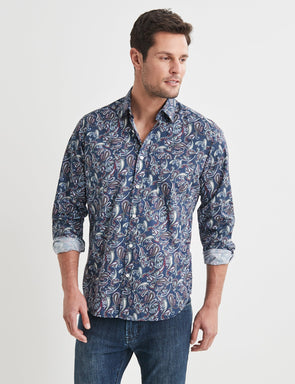 Howard Long Sleeve Printed Shirt - Navy Multi