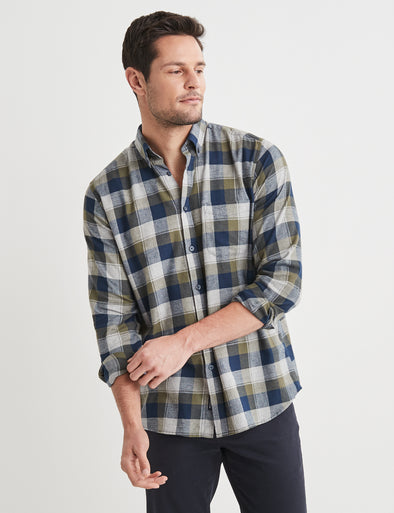 Rufus Long Sleeve Check Shirt - Green Multi