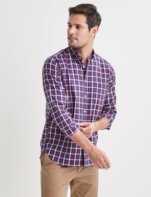 Walter Long Sleeve Check Shirt - Red