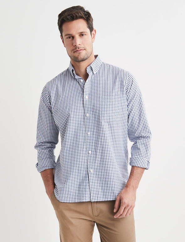 Lionel Long Sleeve Check Shirt - Navy