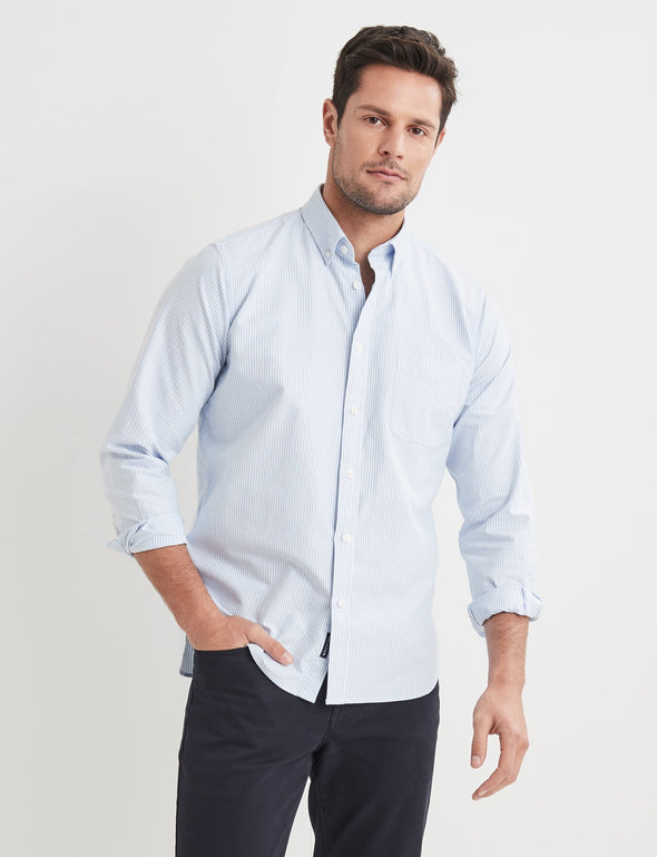 Alfred Long Sleeve Stripe Shirt - Blue