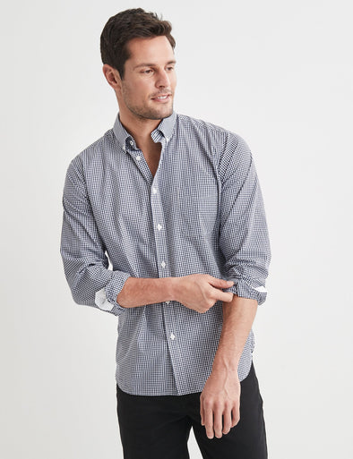 Sven Long Sleeve Check Shirt - Navy