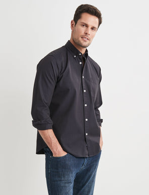 Brian Long Sleeve Twill Shirt - Navy
