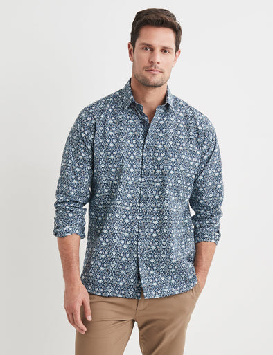 Jack Long Sleeve Printed Shirt - Navy/Tan