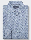 Edward Long Sleeve Printed Shirt - Navy/White