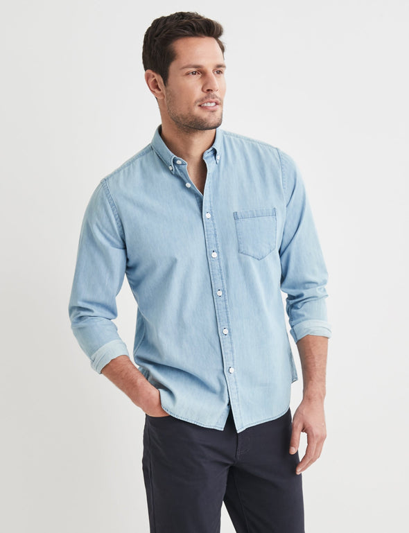 Oscar Long Sleeve Denim Shirt - Blue