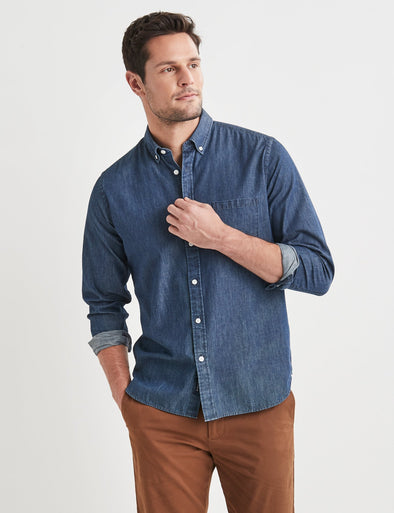 Oscar Long Sleeve Denim Shirt - Indigo