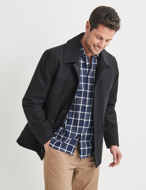 Leo Melton Pea Coat - Black