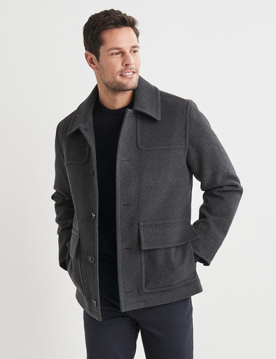 Leo Melton Pea Coat - Charcoal