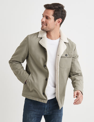 Noah Sherpa Fleece Jacket - Khaki