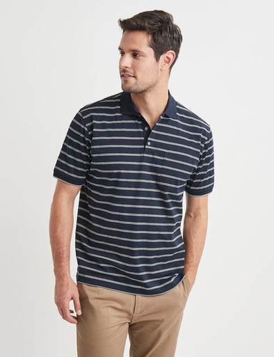 Angus Mercerised Polo - Navy/Grey