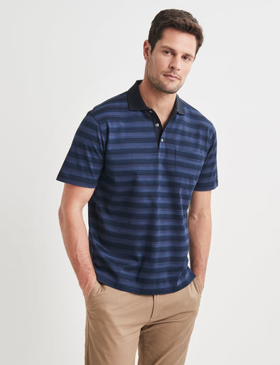 Conrad Mercerised Polo Navy