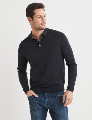 Lucas Merino Polo Neck Knit - Navy