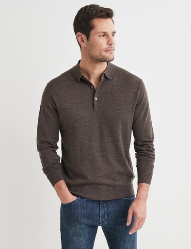 Lucas Merino Polo Neck Knit - Brown