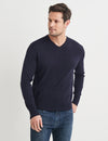 Dev Merino V Neck Knit - Navy