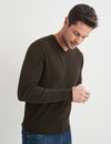 Dev Merino V Neck Knit - Brown