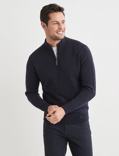Hamish Lambswool Half Zip Knit - Navy