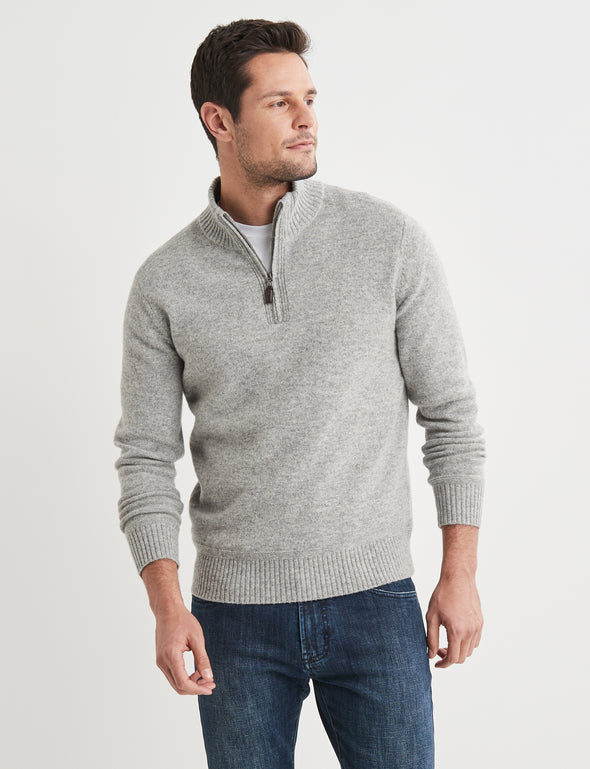Hamish Lambswool Half Zip Knit - Light Grey