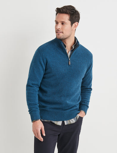 Hamish Lambswool Half Zip Knit - Blue Steel