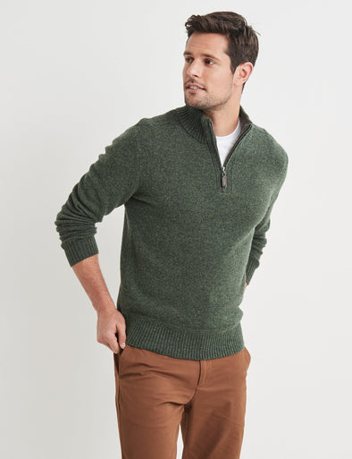 Hamish Lambswool Half Zip Knit - Green