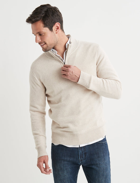 Hamish Lambswool Half Zip Knit - Natural