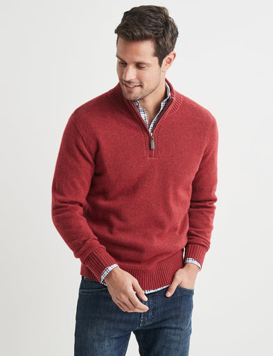 Hamish Lambswool Half Zip Knit - Chilli
