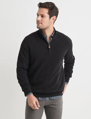 Merino Cotton Half Zip Knit - Black