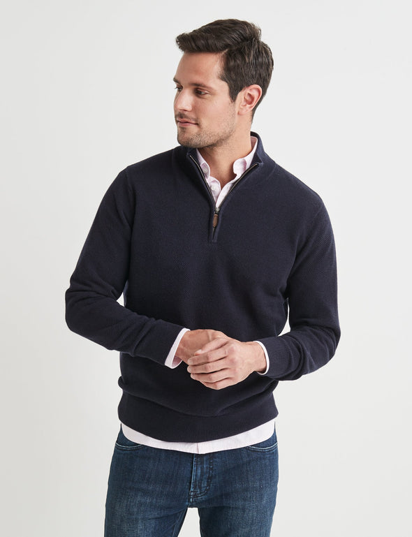 Merino Cotton Half Zip Knit - Navy