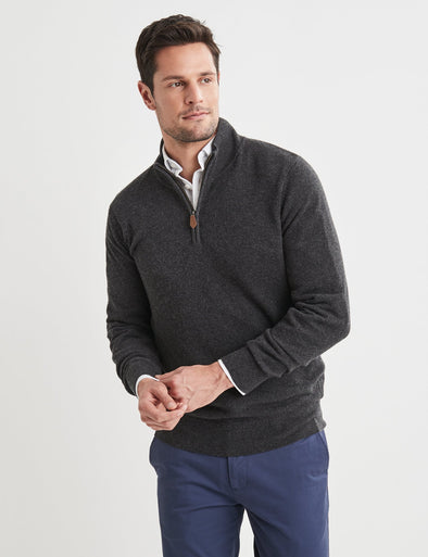 Merino Cotton Half Zip Knit - Charcoal