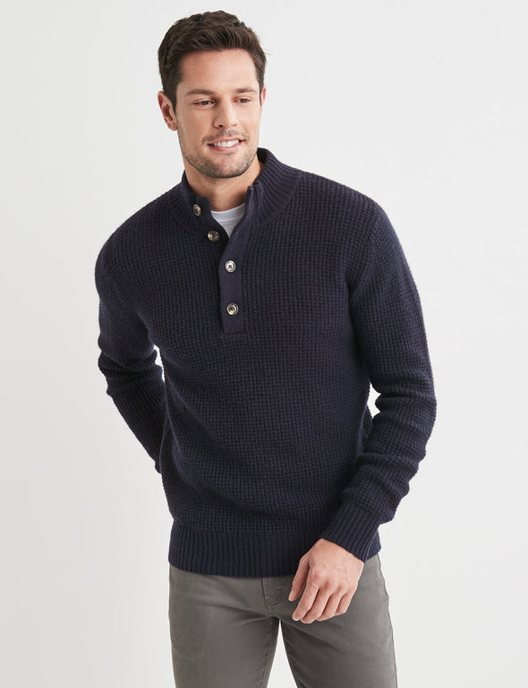 Hudson Lambswool Textured Button Neck - Navy