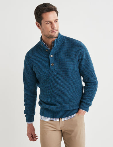 Hudson Lambswool Textured Button Neck - Blue Steel