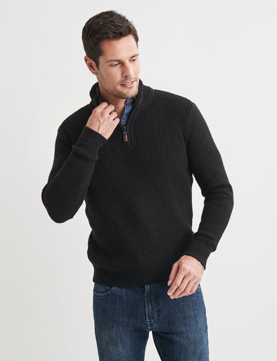 Oscar Half Zip Cotton Mix - Black