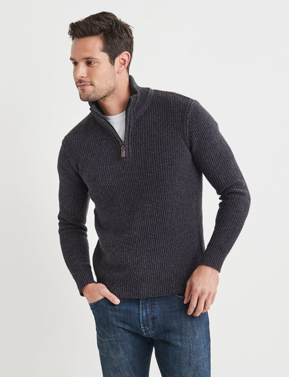 Oscar Half Zip Cotton Mix - Charcoal