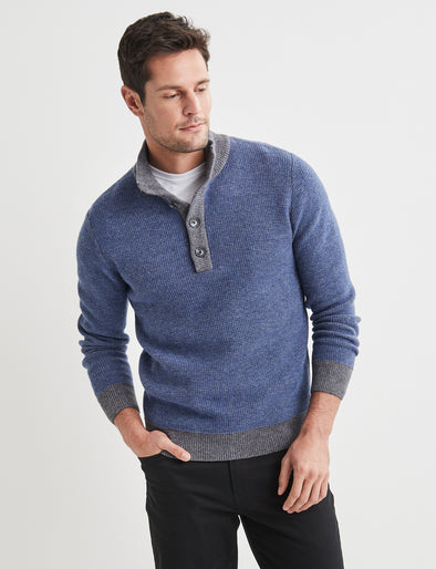 Samuel Lambswool Button Neck - Blue Pipes