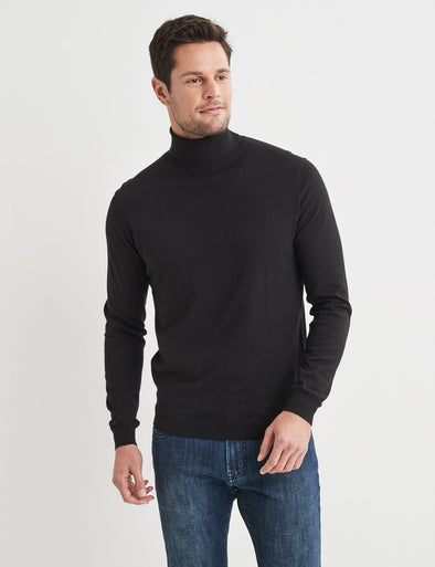 Finn Cotton Blend Roll Neck Knit - Black
