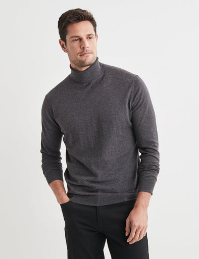 Finn Cotton Blend Roll Neck Knit - Charcoal