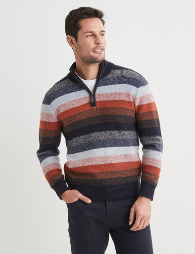 Harvey Lambswool Multi Stripe Multi
