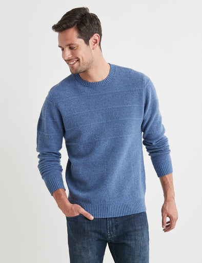 Theo Lambswool Crew Neck - Blue Pipes