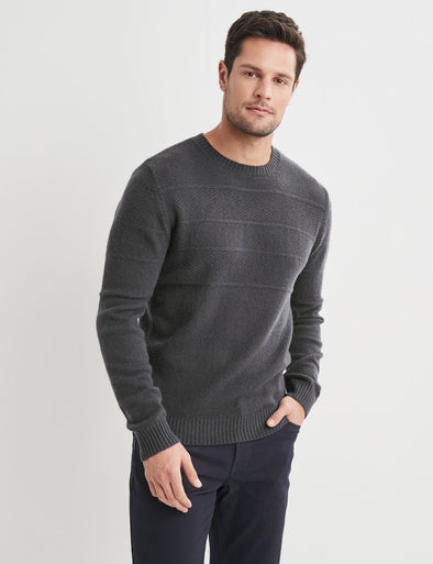 Theo Lambswool Crew Neck - Charcoal