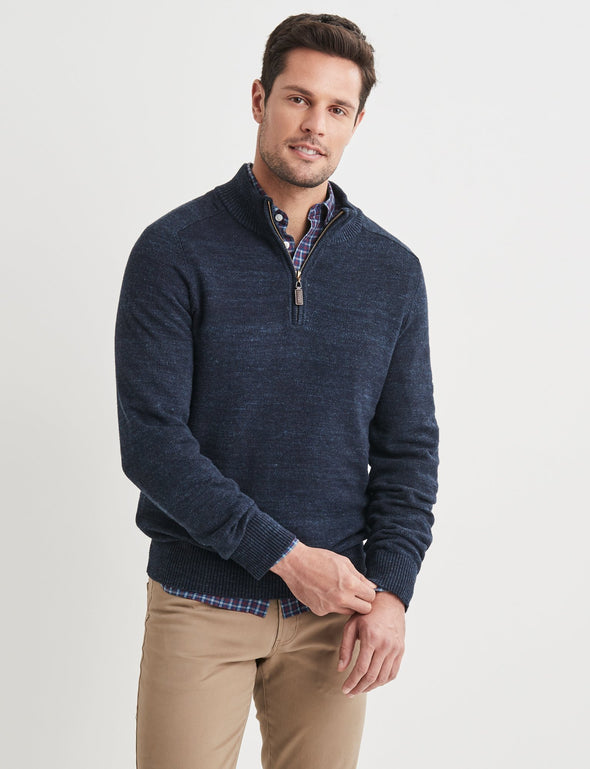 Oliver Cotton Jacquard Half Zip - Navy