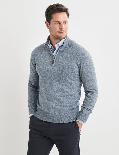 Liam Cotton Half Zip Knit - Blue