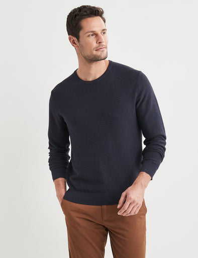Mason Cotton Fashion Crew Neck - Navy